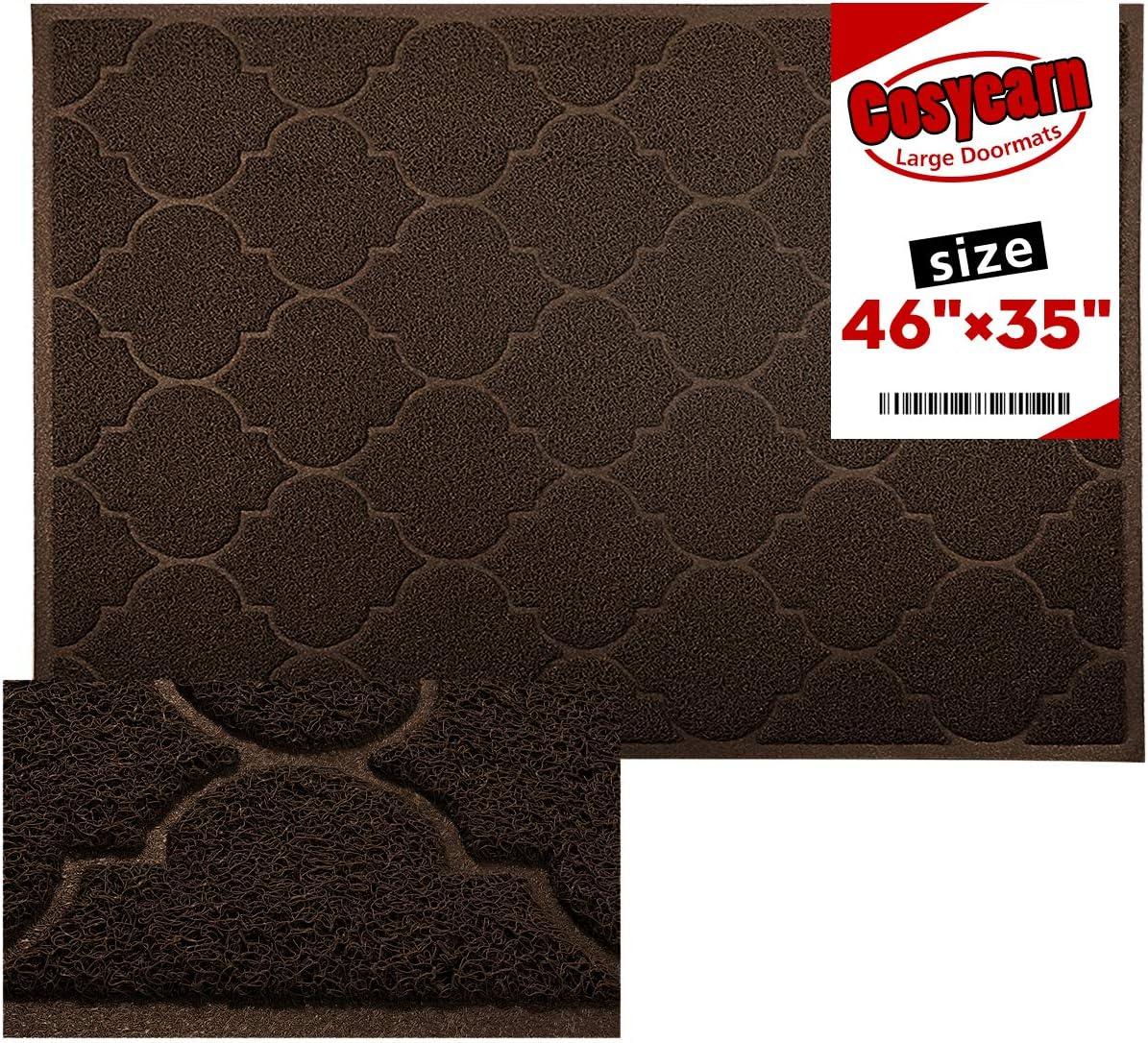Large Door Mats,46x35 Inches XL Jumbo Size Outdoor Indoor Entrance Doormat, Waterproof, Easy Clean, Entryway Rug,Front Doormat Inside Outside Non Slip. (Brown)