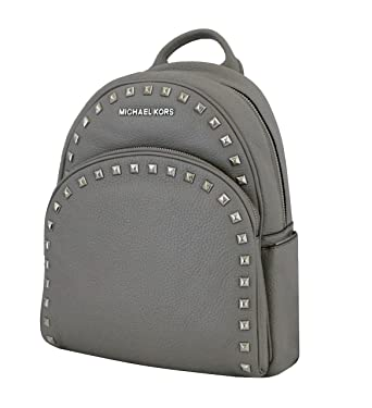 e0ea2ceb661a Image Unavailable. Image not available for. Color: Michael Michael Kors  Abbey Pearl Grey Medium Frame out Stud Leather Backpack