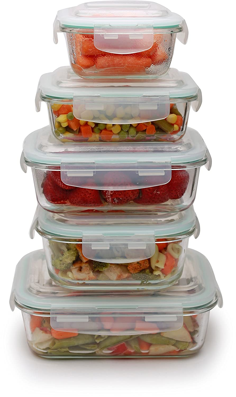 Circleware 59003/H 10 Piece Specially Tempered Glass Storage Container Set, 29oz, 11oz, 35oz, 23oz, 13oz