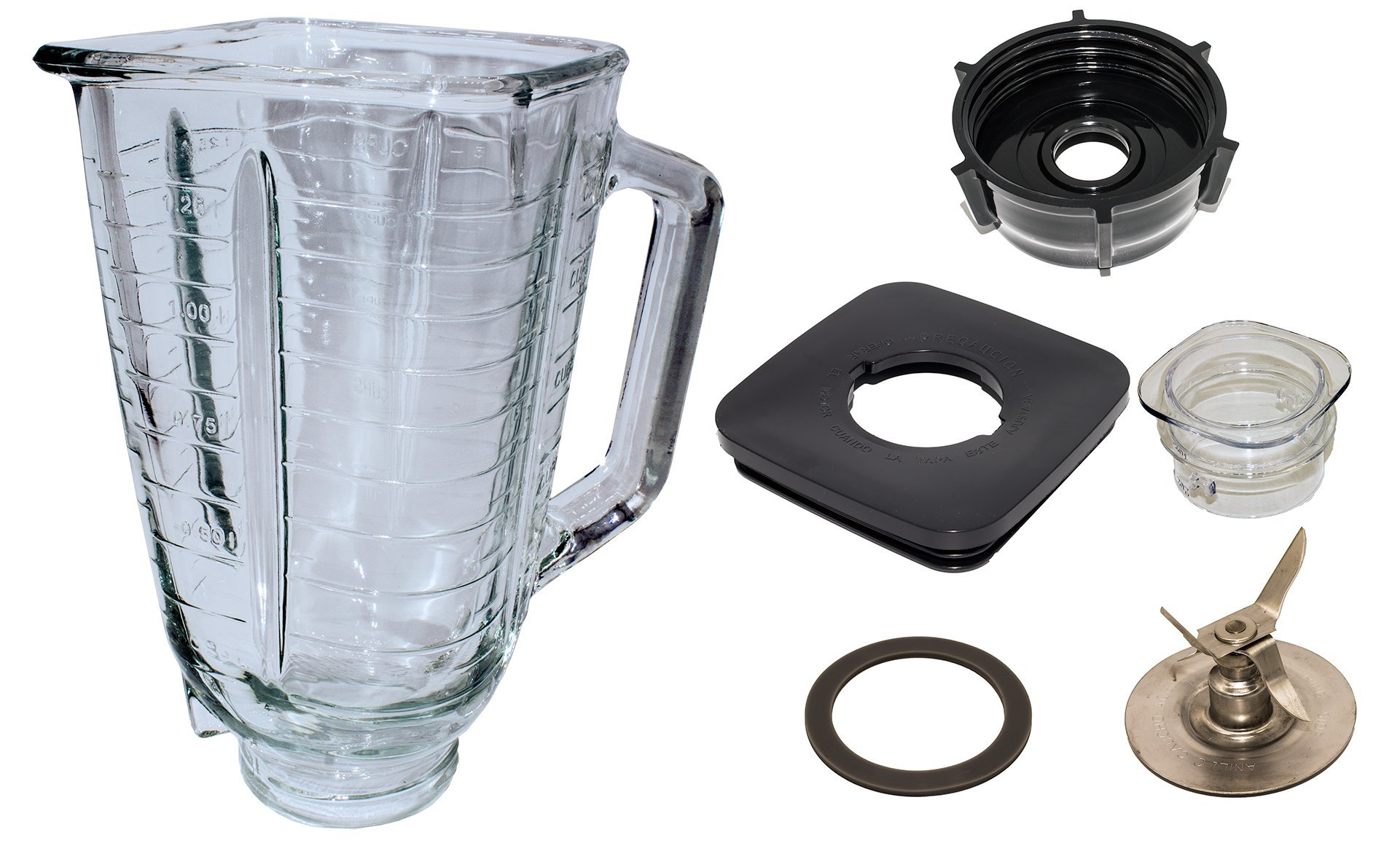 Blendin 5 Cup Square Top Glass Jar Assembly With Blade, Gasket, Base, Lid. Fits Oster Blenders