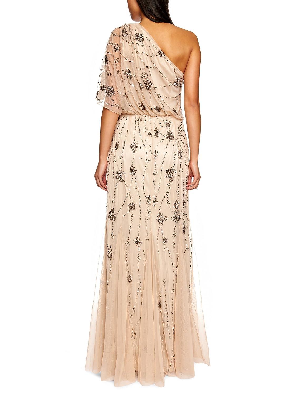 7da95af7b2f Amazon.com  Adrianna Papell Women s One Shoulder Beaded Blouson Dress   Clothing