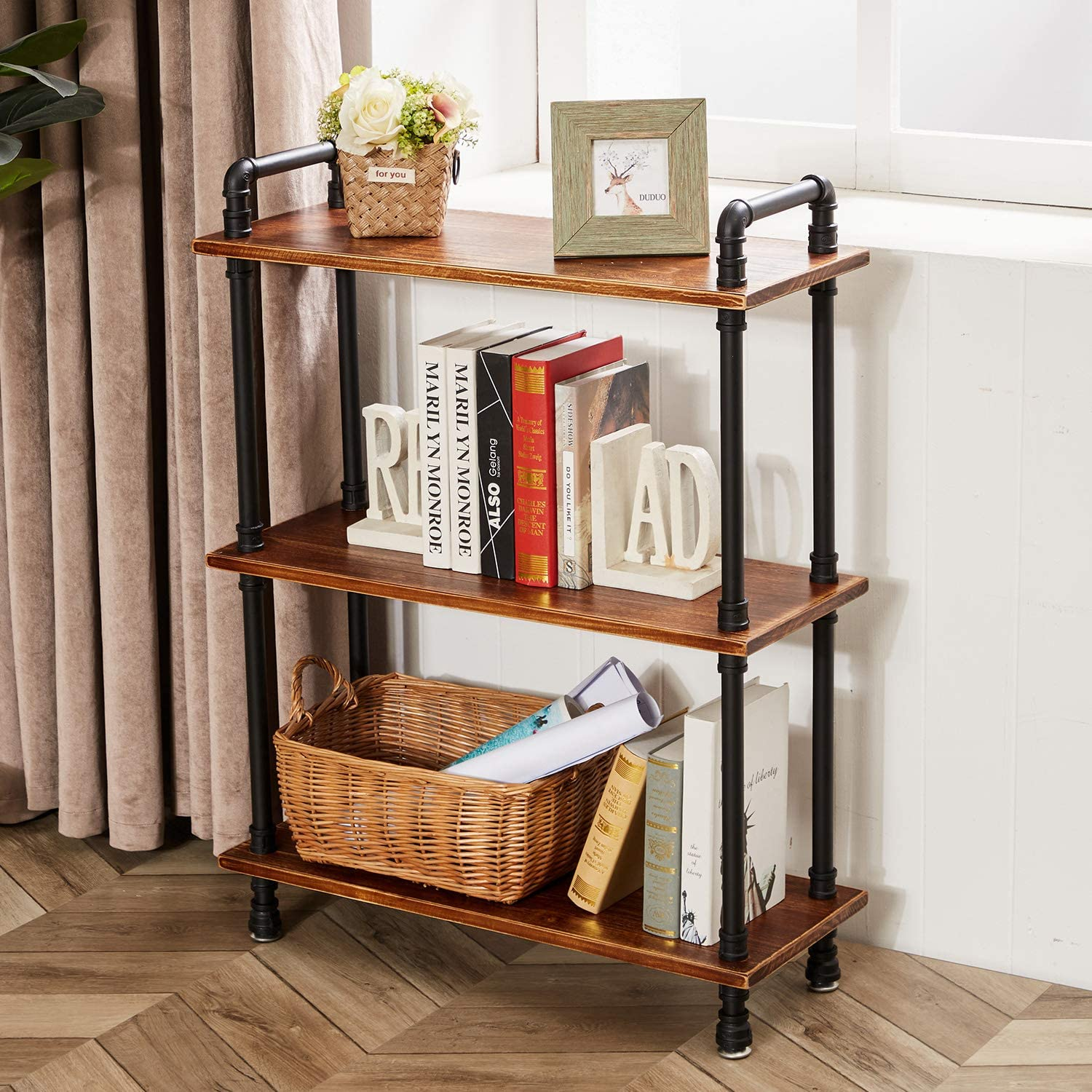 3-Tier Industrial Open Bookcase, Iron Pipe Bookshelf with Solid Wood, Display Storage Stand Shelf Bookcase for Living Room, Kitchen, Office(Rustic Brown, 29.5