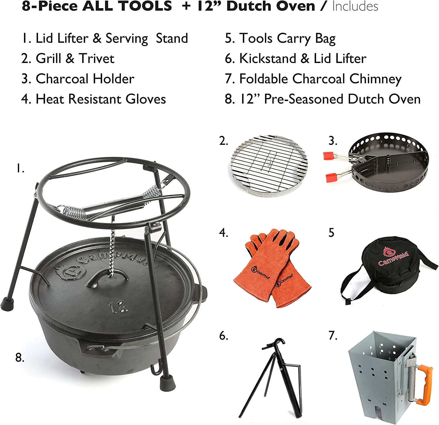 CampMaid 8-Piece Dutch Oven Set With 12