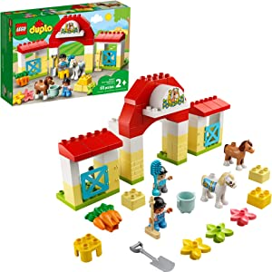 LEGO DUPLO Town Horse Stable and Pony Care 10951 Horse and Pony Stable Playset for Preschoolers; Great Gift for Kids Who Love Horses, Ponies and Pony Rides, New 2021 (65 Pieces)