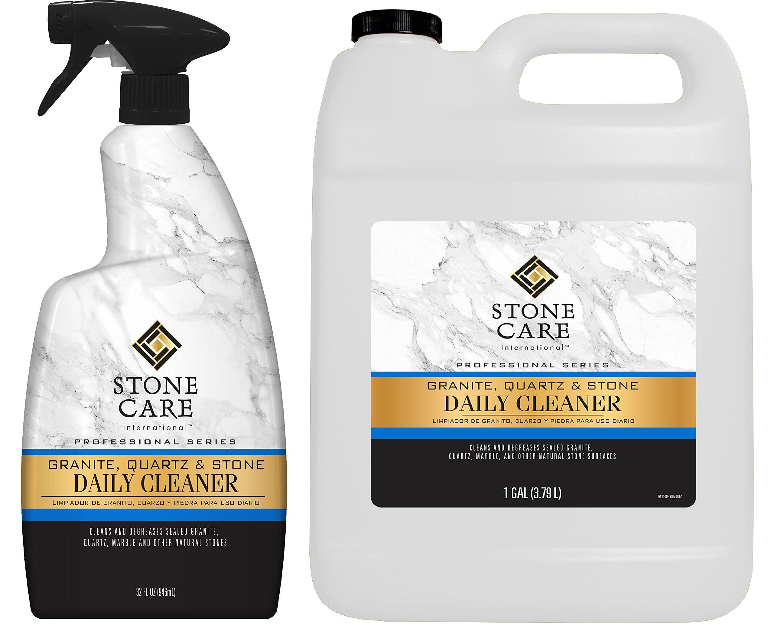 Stone Care International Granite Cleaner - Value Pack - 32 Ounce Trigger and 1 Gallon - Granite Marble Quartz Tile Travertine Limestone Slate Daily Cleaner by Stone Care International
