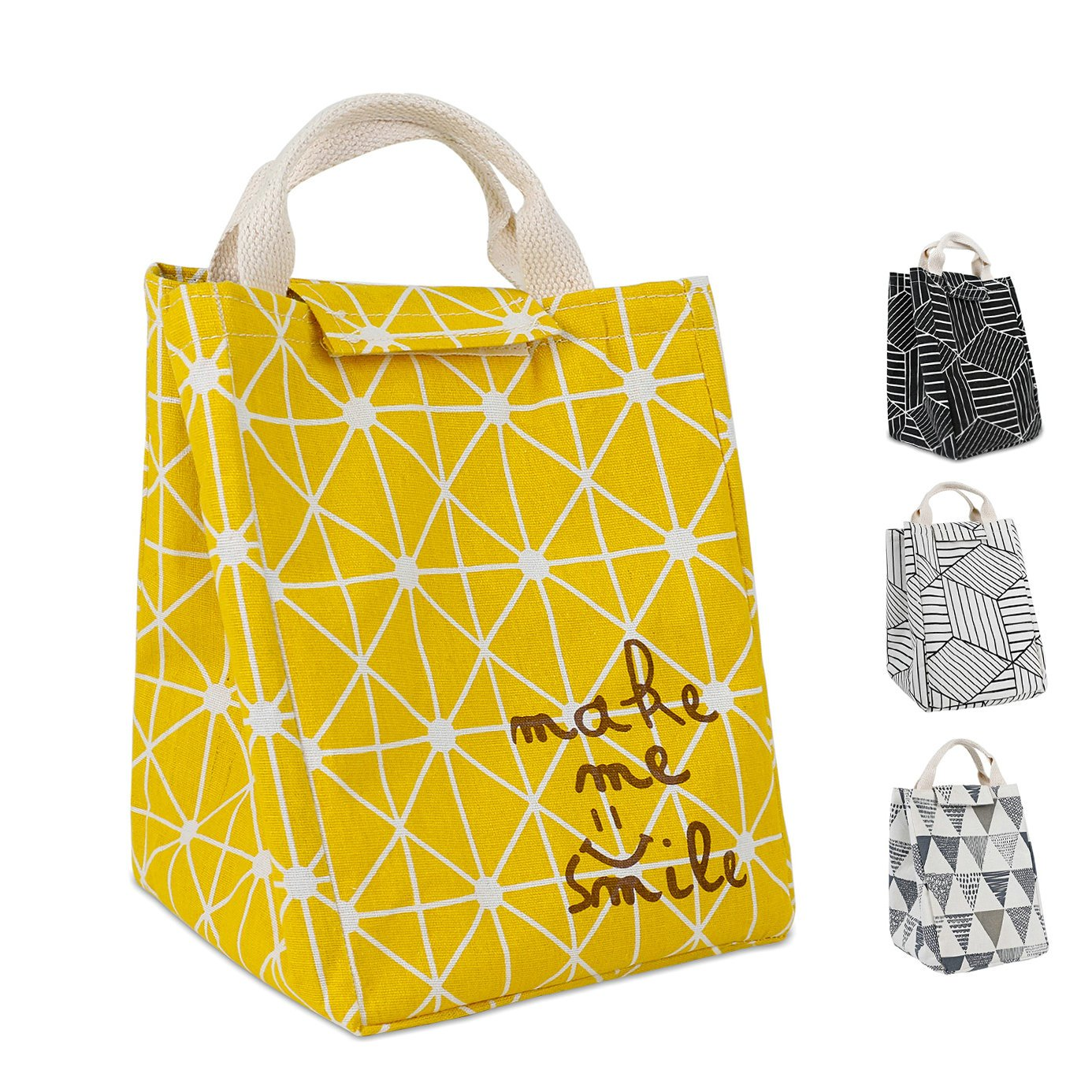 HOMESPON Reusable Lunch Bags Printed Canvas Fabric with Insulated Waterproof Aluminum Foil, Lunch Box for Women, Kids, Students (Rhombus Pattern-Yellow)