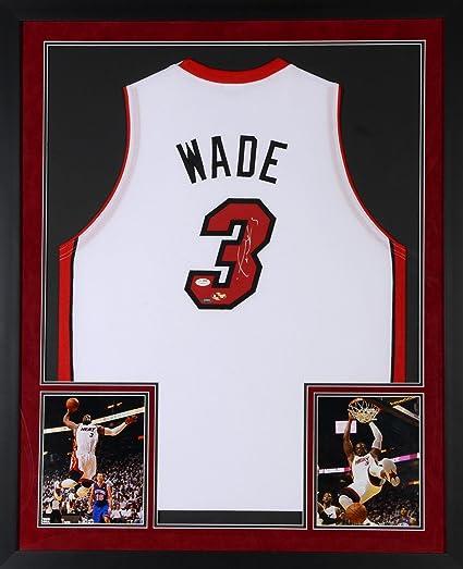 Dwyane Wade Miami Heat Deluxe Framed Autographed White Jersey   JSA  Certified   Autographed NBA Jerseys