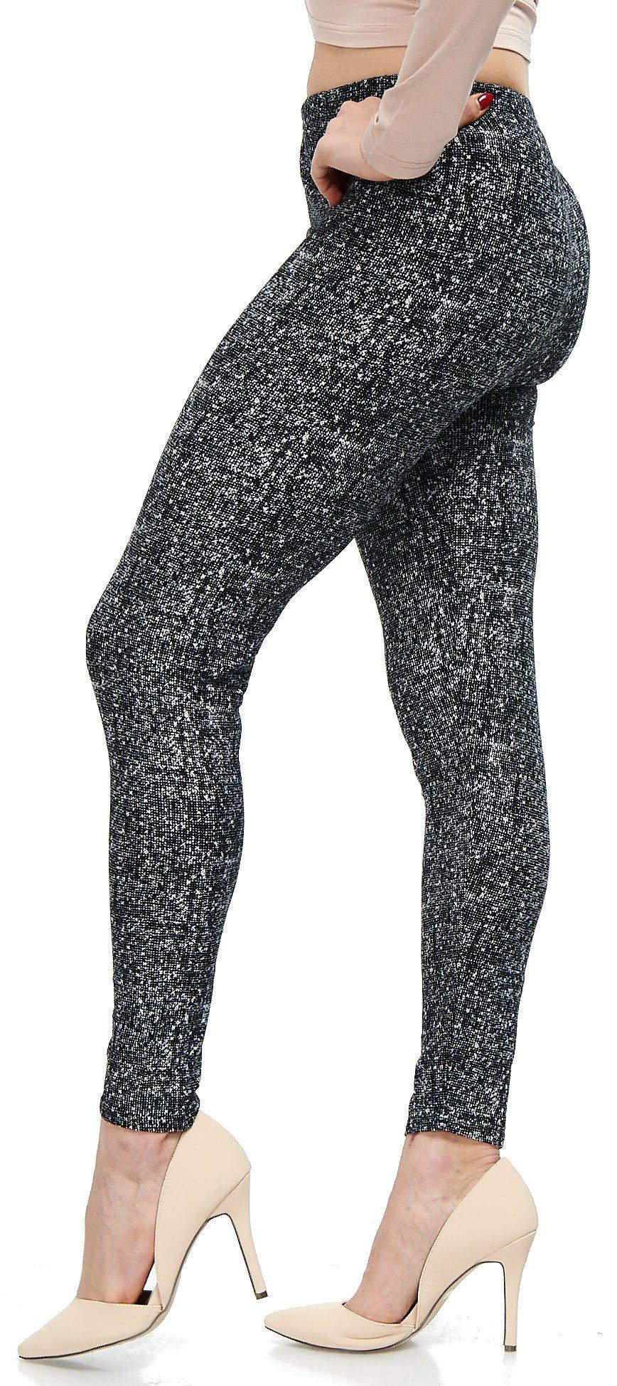 LMB Lush Moda Extra Soft Leggings with Designs- Variety of Prints - 760F Black White Abstract B5