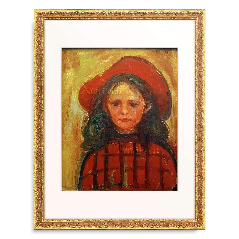 エドヴァルドムンク Edvard Munch 「Girl in red checkered dress and red hat」 額装アート作品 B07P396KWZ 07.装飾額 19mm(ゴールド) L(額内寸 509mm×394mm) L(額内寸 509mm×394mm) 07.装飾額 19mm(ゴールド)