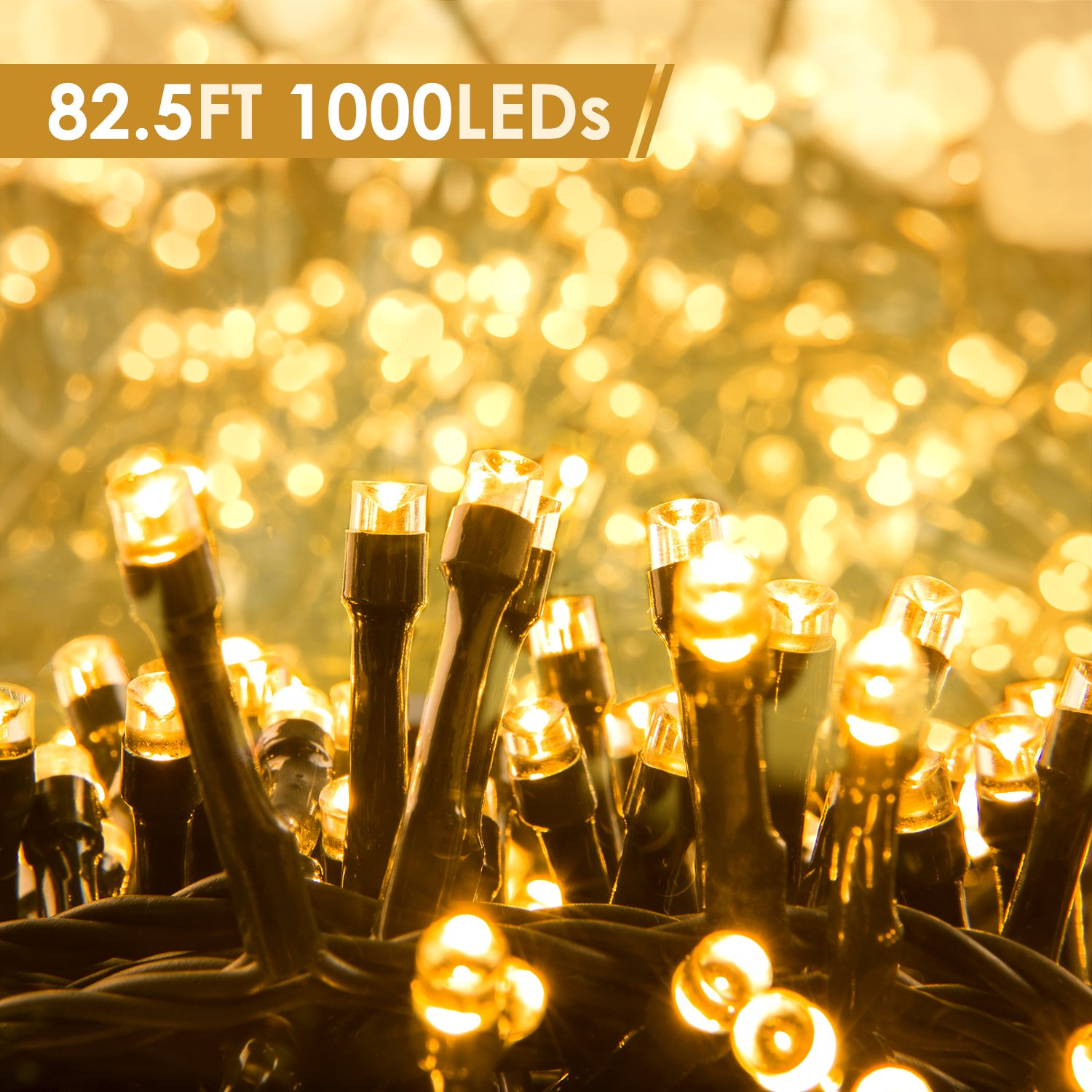 Quntis LED String Lights, Indoor Outdoor 82.5ft 1000 LEDs 29V Warm White LED Fairy Starry Strip Lights Decor for Home Bedroom Kitchen Garden Patio Wedding Party Holiday Christmas, UL588 certified