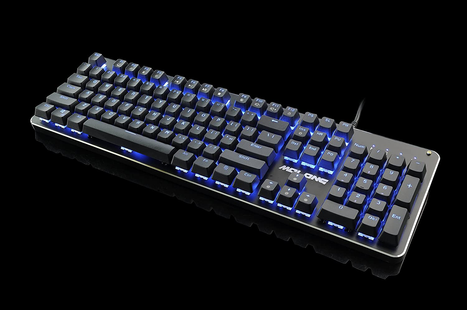 Black RGB Mechanical Gaming Keyboard with Programmable LED Backlit 104 Keys Anti-Ghost Keys DIY Blue Switches for Mac PC