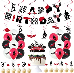 38 PCS Skateboard Birthday Party Supplies Decoration,Skateboard Theme Banner,Extreme Skateboarding Cake Toppers,Sports Spiral Ornament,SkateBoarding Silhouette Balloons for Boys and Girls Birthday Party Decor