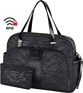 "KROSER Laptop Tote Bag 15.6"" Stylish Shoulder Bag Water-Repellent Large Travel Bag with RFID Pockets for Work/Business/School/College/Women-Camouflage Black"