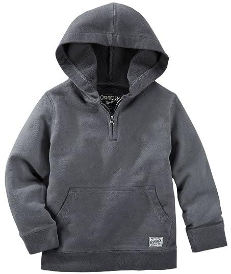 9035585bc2 OshKosh B gosh Boys Gray French Terry Quarter Zip Pullover Hoodie ...