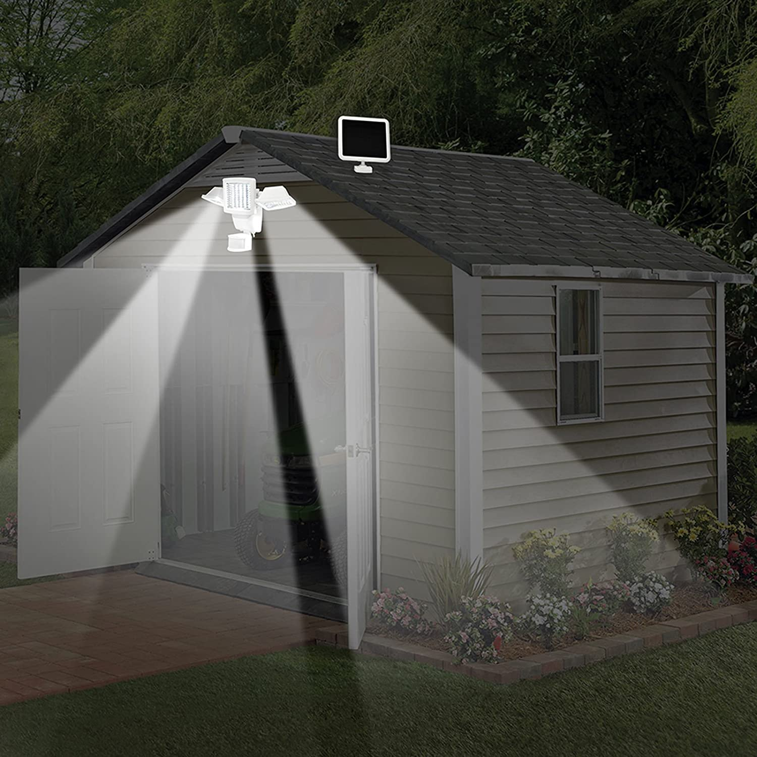 sunforce 82183 180 led solar motion light triple head 1200