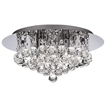 Searchlight Hanna LED Semi Flush Ceiling Light Crystal Chrome IP44 Bathroom  Light 4404 4CC