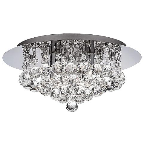 Charming Searchlight Hanna LED Semi Flush Ceiling Light Crystal Chrome IP44 Bathroom  Light 4404 4CC