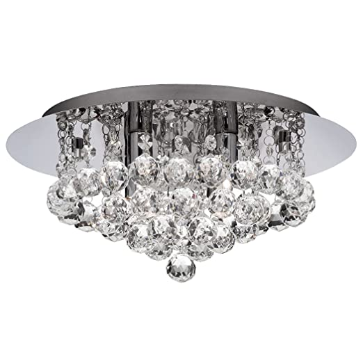 Searchlight Hanna LED Semi Flush Ceiling Light Crystal Chrome IP44 ...