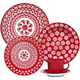 1 Aparelho de Jantar e Chá 20 Peças Oxford Daily Floreal Renda Branco/Vermelho