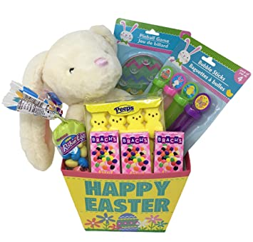 Amazon easter gift basket for kids with large 15 inch plush easter gift basket for kids with large 15 inch plush easter bunny easter candy negle Images