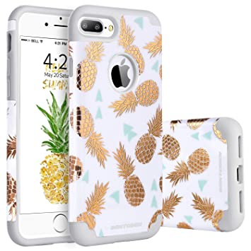 BENTOBEN Funda iPhone 8 Plus Piña, Funda iPhone 7 Plus, Ultra Delgado Carcasa Case Cover Brillante llamativa Combianda Duro PC y TPU Silicona ...