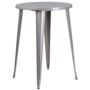 Flash Furniture 30'' Round Silver Metal Indoor-Outdoor Bar Height Table