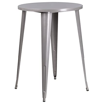 Delicieux Flash Furniture 30u0027u0027 Round Silver Metal Indoor Outdoor Bar Height Table