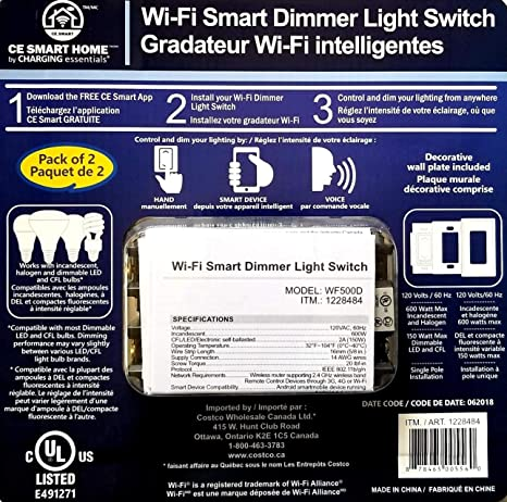 2-Pack Wi-Fi Smart Dimmer Light Switch, Compatible with Alexa and Google  Assistant