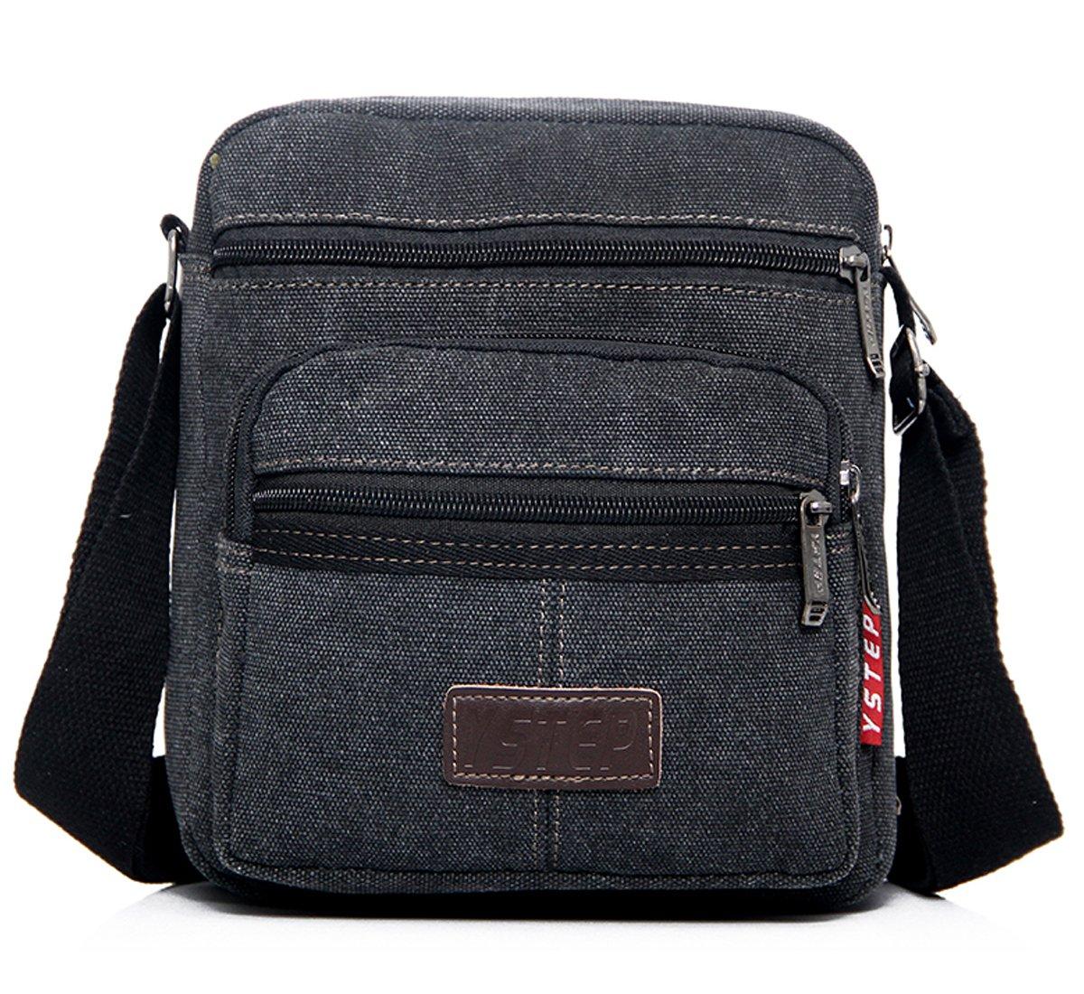 Degohome Vintage Canvas Crossbody Shoulder Bag Small Messenger Travel Bag For Men & Women (black)