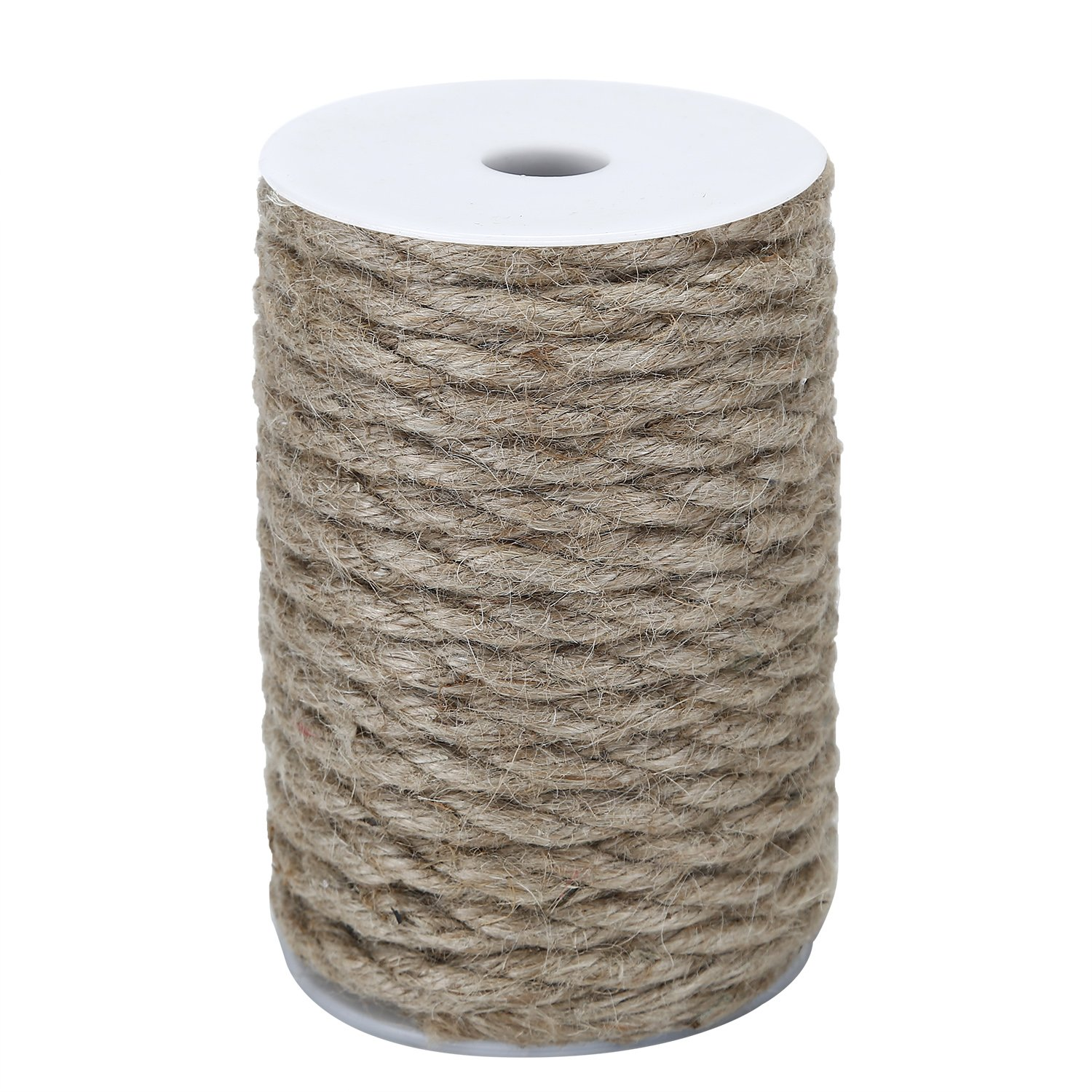 ZoraSelena Jute Rope 8mm 50 Feet Jute Twine String-Natural Hemp Twine for Crafts DIY Home Decor Jute Heavy Duty 3ply Brown