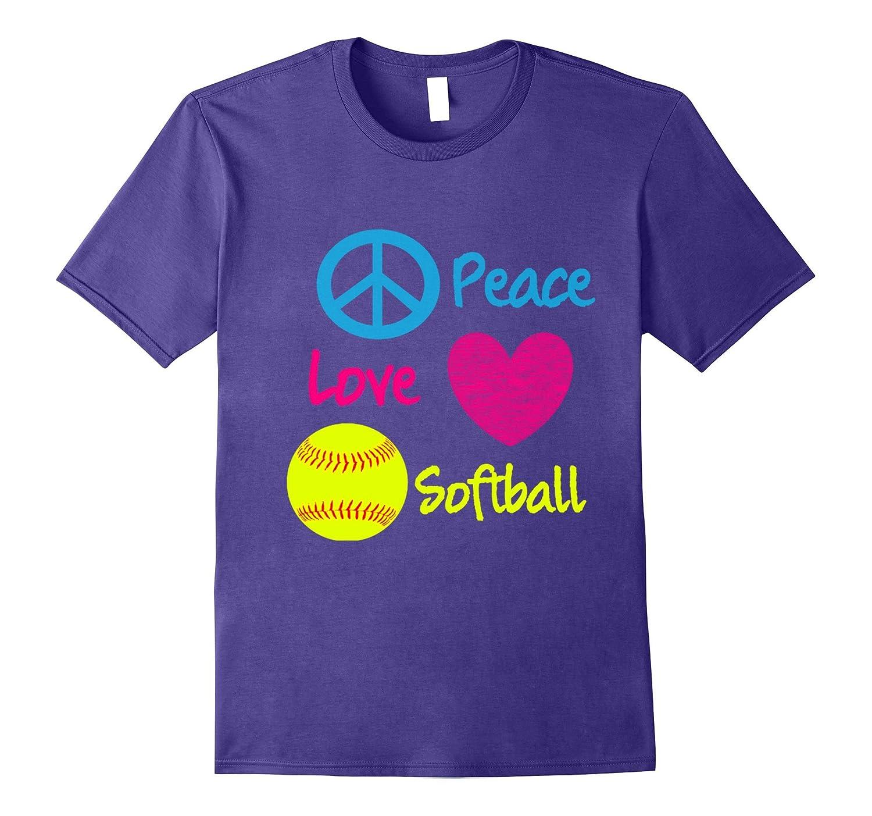 Cute Peace Love and Softball T-shirt-BN