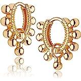 Mevecco Gold Dainty Huggie Hoop Earring,18K Gold Plated Cute Tiny Drop Ball Hoop Earrings for Women