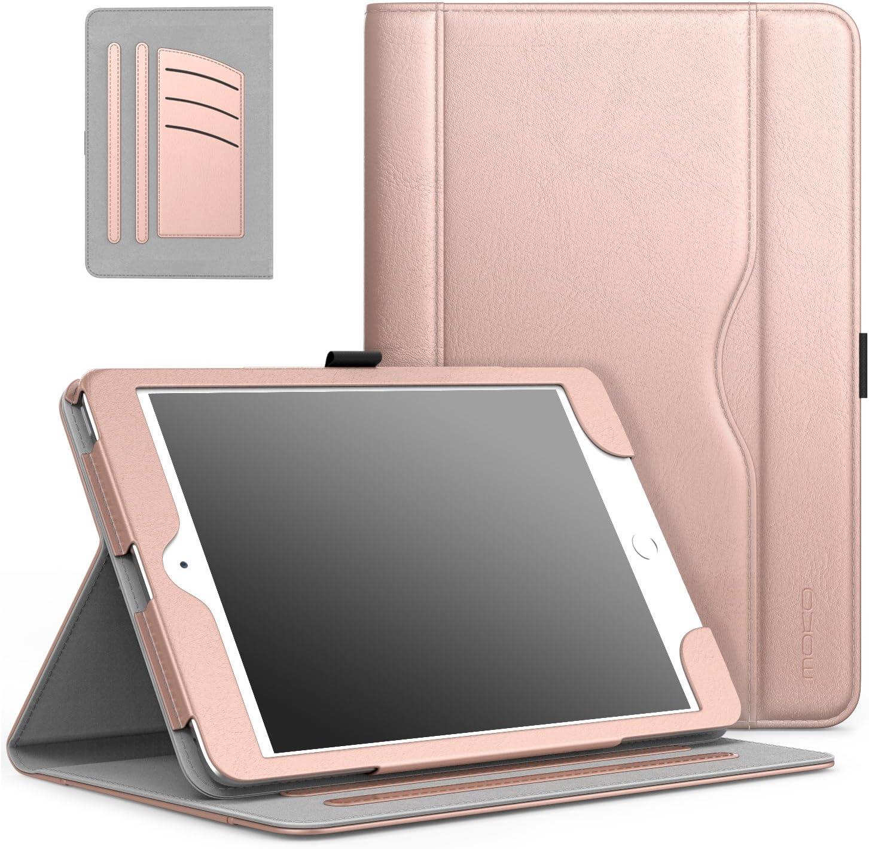 MoKo Case Fit iPad Mini 3/2/1, Slim Folding Stand Folio Cover Case Compatible with iPad Mini 1/Mini 2/Mini 3, with Auto Wake/Sleep and Document Card Slots, Multiple Viewing Angles, Rose Gold