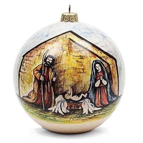 Immagini Di Natale Con Sacra Famiglia.Ceramiche Liberati Pallina Di Natale Con Sacra Famiglia