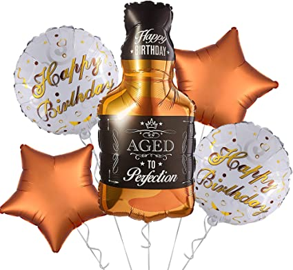 Whiskey Party Decorations Aged to Perfection Banner Garland Gold and Black Balloons Whiskey Birthday Party Supplies