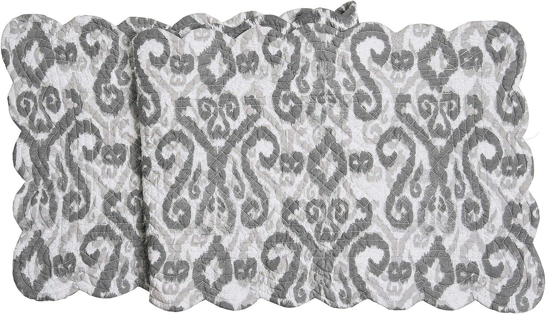 C&F Home Heather Grey & White Damask Reversible Diamond Table 14