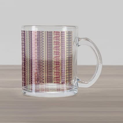 623bea59042 Ambesonne Striped Glass Mug, Soft Tone with Ancient Ethnic Elements Floral  Leaf Archaic American Design