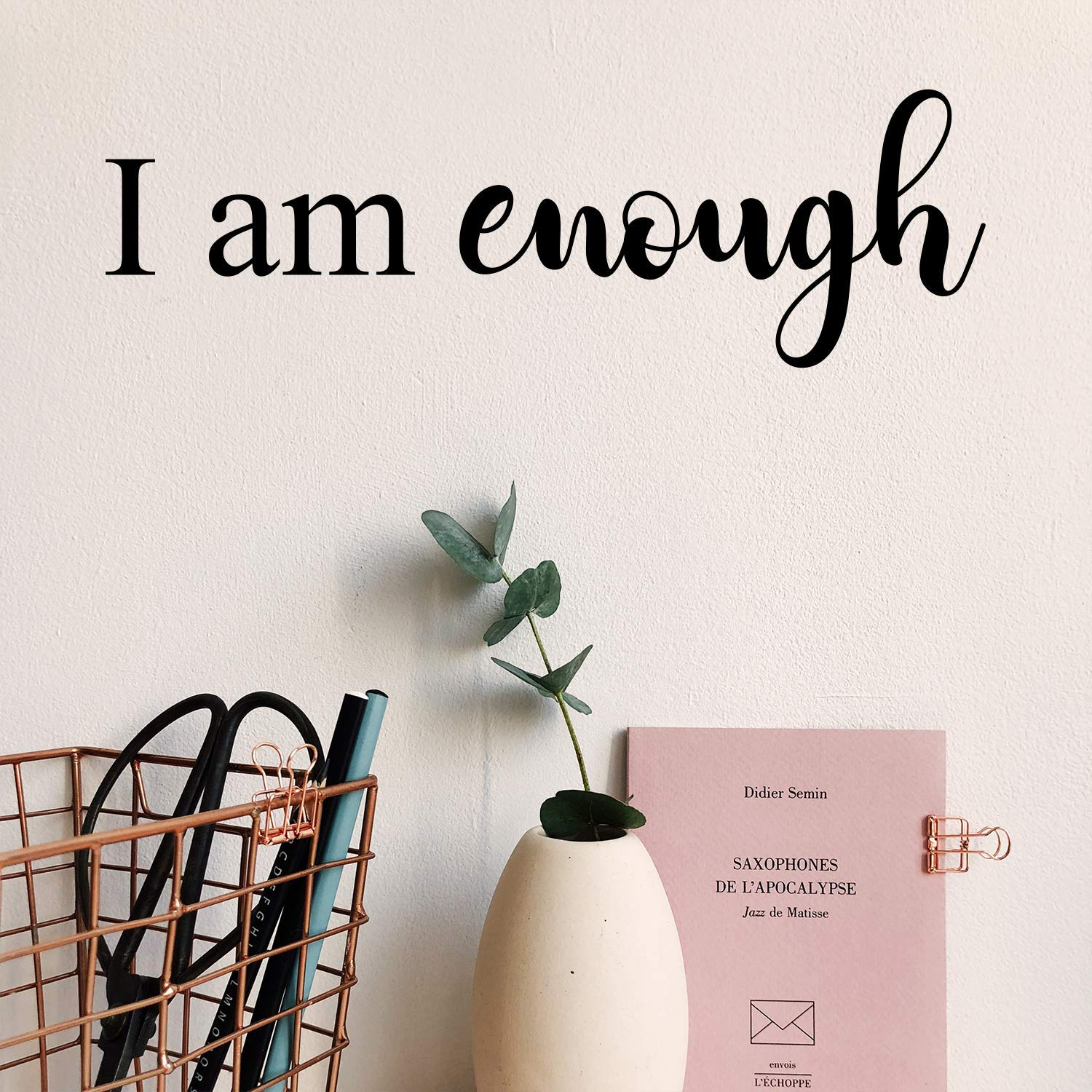 """Vinyl Wall Art Decal - I Am Enough - 5"""" x 15"""" - Modern Inspirational Self Worth Love Quote for Home Bedroom Bathroom Dressing Table Mirror Office Decoration Sticker"""