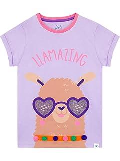 Emoji Maglietta Maniche Corta per Ragazze Llama