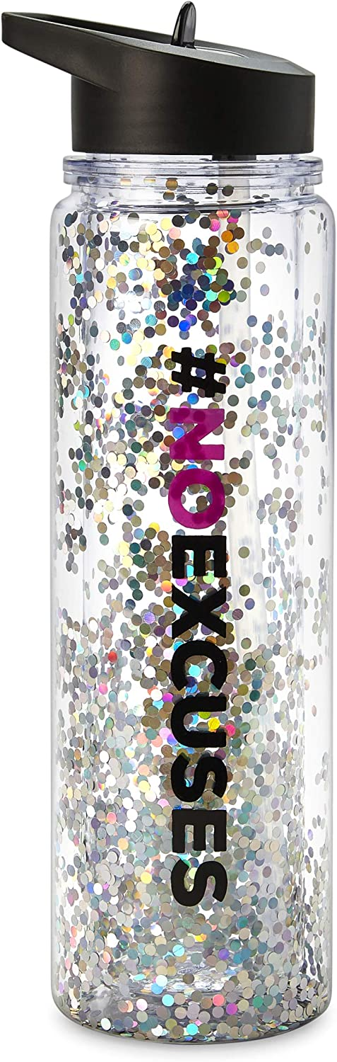 Tri-Coastal Design Water Bottle with Screw-Top Lid – BPA Free Hydration Tumbler with Spill-Proof Flip-Top Straw - Dishwasher Safe Beverage Cup Featuring Colorful Artwork, Fun Quote, Floating Glitter