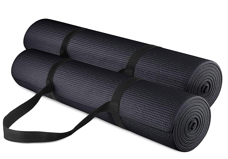 Yogu and Fitness 1 /2-inchextra Thick Long 180 cm PVC快適なフォームヨガマット練習、ヨガ、ピラティス B0751RHF1W ブラック ブラック