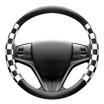FINEX PU Leather Checker Flag Black & White Car Steering Wheel Cover Auto Car Accessories: Automotive