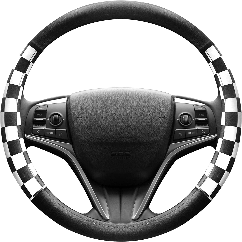 Car Steering Wheel Cover Glove GT Special Grey Black Leather Sport Design Grip