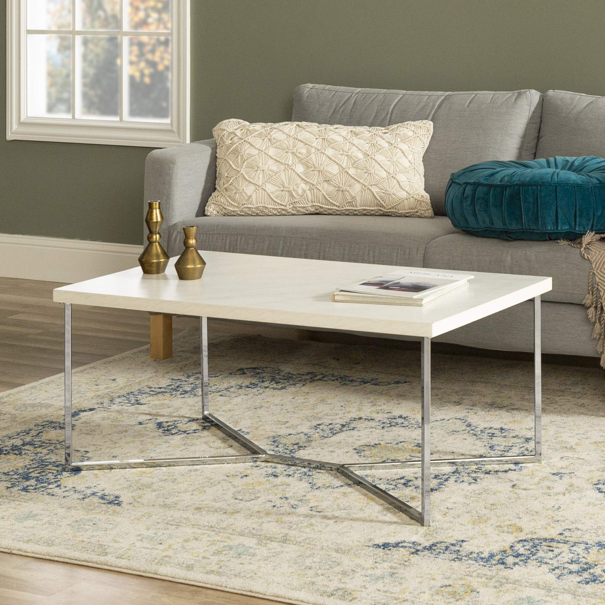 WE Furniture Mid Century Modern Gold Rectangle Coffee Table, 42 Inch, White Marble, Silver by WE Furniture