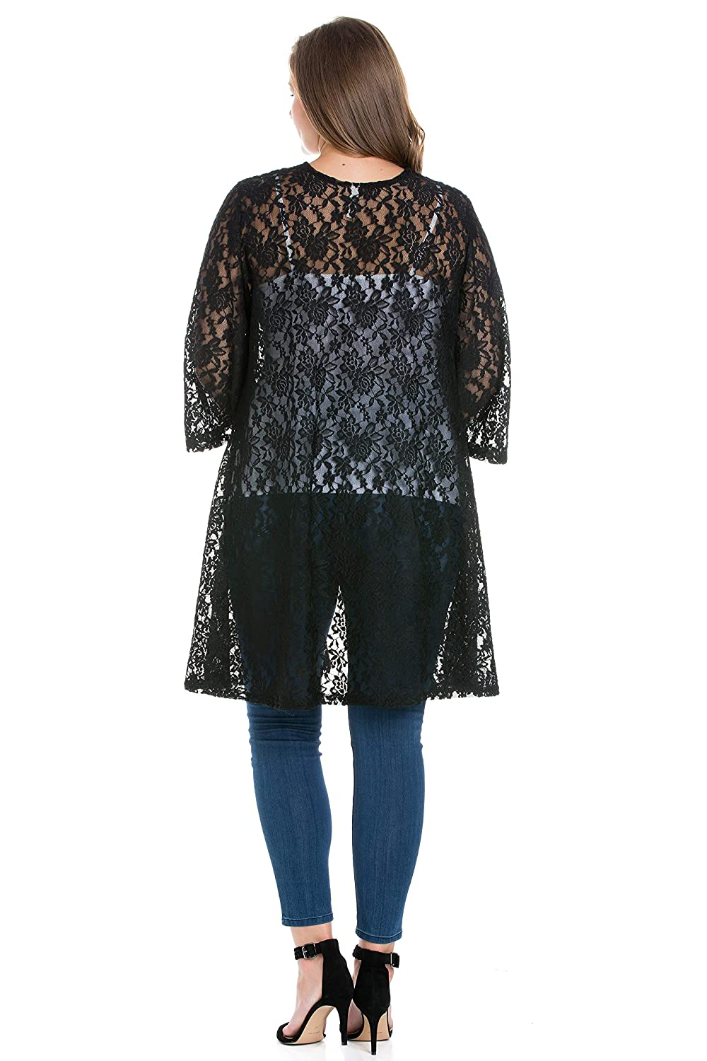 2090313a01 24seven Comfort Apparel Womens Plus Size 3/4 Sleeve Long Lace Open Front  Cardigan Sizes ...