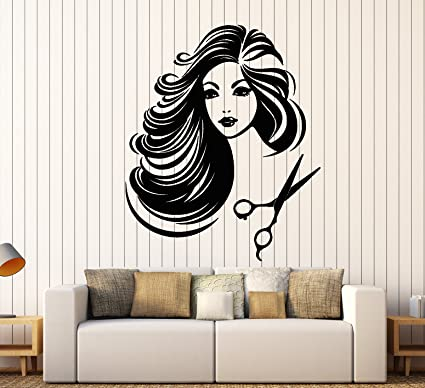 Wall Stickers Hair Dressers Beauty Salon Girl Art Decals Vinyl Home Room Decor