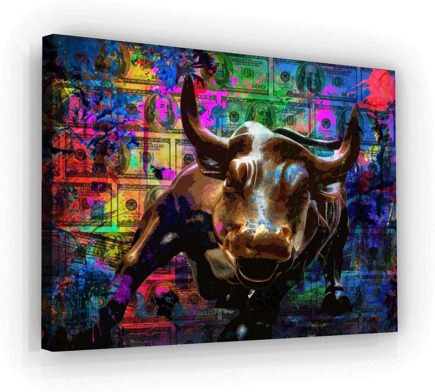 "SuccessHuntersPrints Charging Bull Canvas Print Office Decor Pop Art Money Motivation Wall Street Culture Inspirational Motivational Home Decoration Entrepreneur (30"" x 40"")"