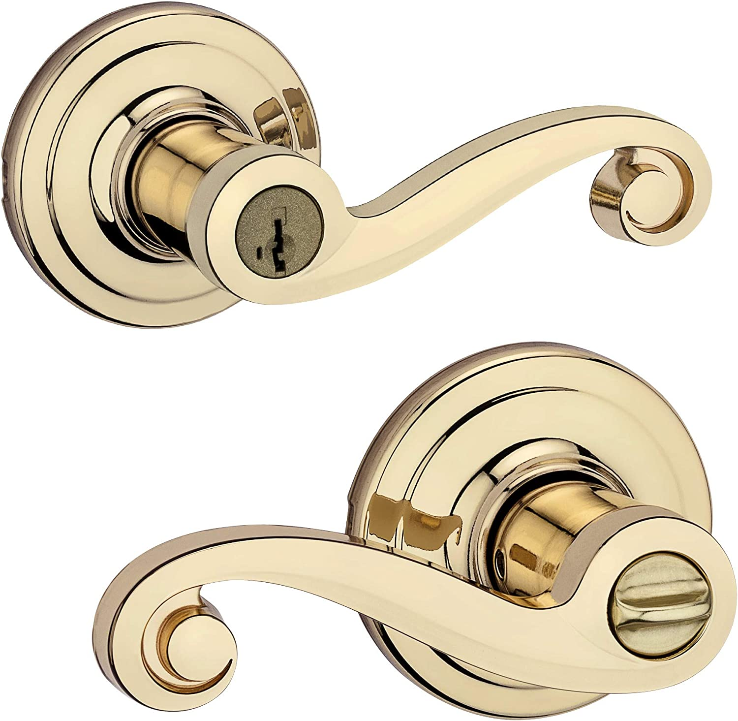 Lido Keyed Entry Lever with Microban Antimicrobial Protection featuring SmartKey Security in Polished Brass