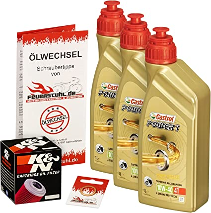 Ölwechselset Castrol Power1 10 W 40 Oil K N Oil Filter For Bmw F 650 Gs Bj 00 08 Gs Dakar Type R13 E650g Engine Oil Filter And Seal Ring Auto