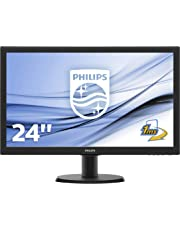 """Philips 243V5LHAB Monitor LCD per PC con SmartControl Lite 23.6"""" LED Full HD, 1920 x 1080, HDMI, DVI-D, VGA, Attacco VESA, Nero"""